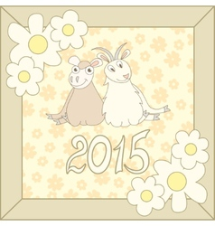 Retro card with cartoon sheep and goat for vector image vector image