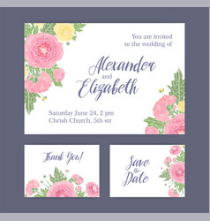 set of wedding invitation save the date card and vector image vector image