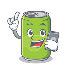 with phone soft drink character cartoon vector image