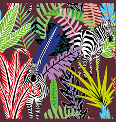 Abstract seamless pattern zebra in jungle vector