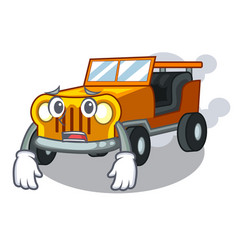 Afraid jeep car toys in shape character vector