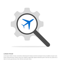 Airplane icon search glass with gear symbol icon vector