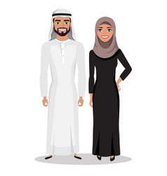 Arabic man and woman in traditional national vector