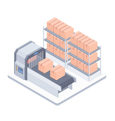 Automated boxing line with conveyor belt isometric vector