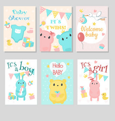 Baby shower invitation template set vector