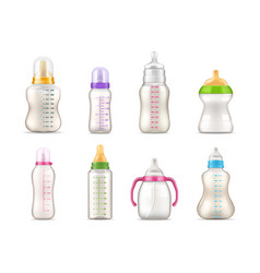 bafeeding bottles milk feeders realistic 3d vector image
