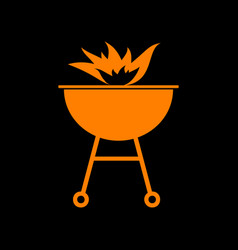 Barbecue with fire sign orange icon on black vector