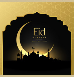 Beautiful eid mubarak golden scene background vector