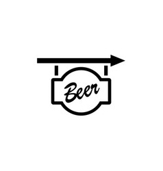 beer signboard flat icon vector image