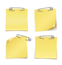 Blank Sticky Notes with Safety Pin on White vector image