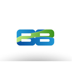 blue green bb b b alphabet letter logo vector image