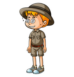 Boy in safari outfit with dizzy eyes vector