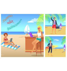 Businessman summer relax color vector