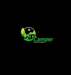Camper tourism logo vector