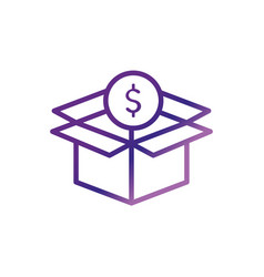Cardboard box with coin charity help donation vector