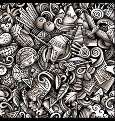 cartoon doodles peru seamless pattern vector image
