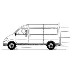 Cartoon of fast driving generic delivery van vector
