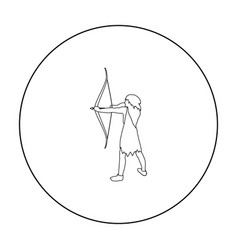 Caveman with bow and arrow icon in outline style vector