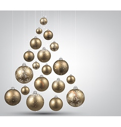 Christmas tree with golden christmas balls vector image
