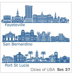 cities usa - san bernardino fayetville port vector image