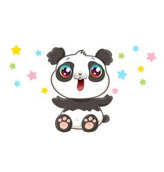 Cute panda in kawaii style vector