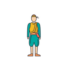 cyprus man costume icon cartoon style vector image