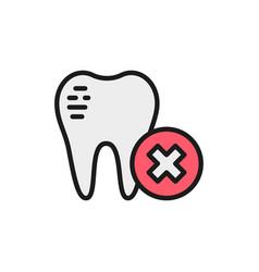 damaged tooth enamel dental broken flat color vector image