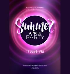 dark purple neon tropical summer party flyer with vector image