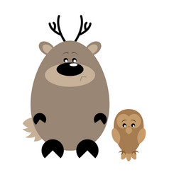 Deer and owl sad vector