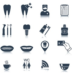Dental icons Silhouette Glossy reflection Isolated vector