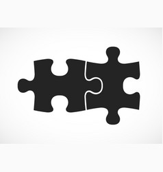 Double piece flat puzzle two section compare vector