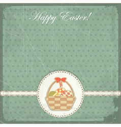 Easter card in vintage style - basket of easter eg vector