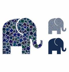 elephant composition icon rough parts vector image