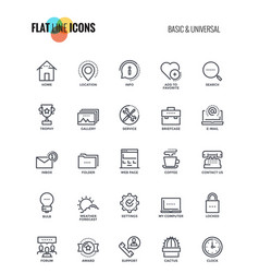 Flat line icons design-basic and universal vector