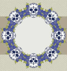 Floral skull design element vector