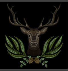 Forest deer face with geen wreath vector