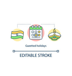 Gazetted holidays concept icon vector