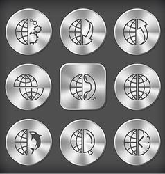 globe and gears and array down and array up shift vector image