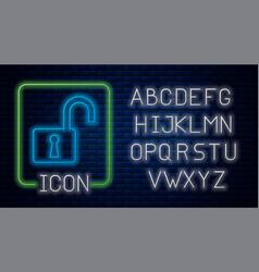 Glowing neon open padlock icon isolated on brick vector