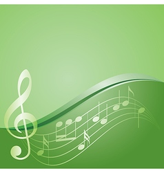 Green background - curved music notes vector