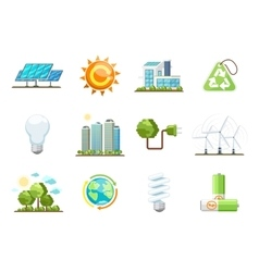 Green power icons Eco clean energy set vector