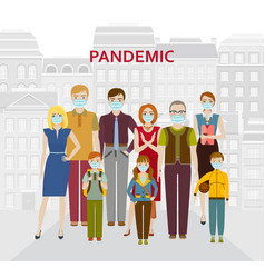Group people in medical protective masks vector