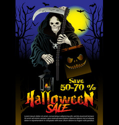 halloween sale offer poster design concept vector image