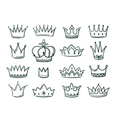 hand drawn crown sketch crowns queen coronet vector image