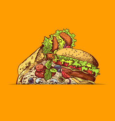 Hand drawn fast food burger taco pizza vector