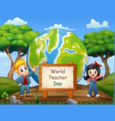 happy teachers day with children standing vector image