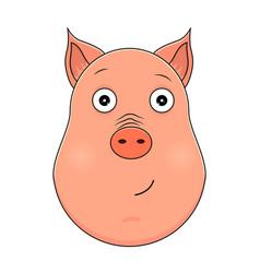 head of serene pig in cartoon style kawaii animal vector image