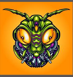 Head robot grasshopper cyber vector