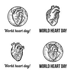 heart day banner set hand drawn style vector image