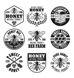 honey and beekeeping set of vintage emblems vector image